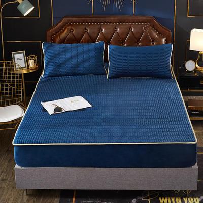 2019乳胶冬被床垫床笠床裙法兰绒毛毯水晶绒四件套磨毛四件套 90*200 深蓝
