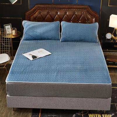 2019新款乳胶防螨床垫三件套 90*200cm 乳胶防螨垫  浅蓝