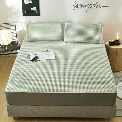 2019新款乳胶防螨床垫三件套 90*200cm 乳胶防螨垫  休闲时光 格绿