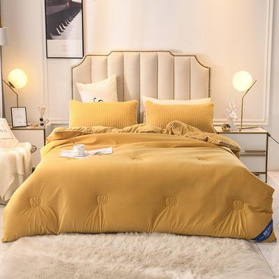 2019乳胶冬被床垫床笠床裙法兰绒毛毯水晶绒四件套磨毛四件套 200X230cm8斤 柠檬黄