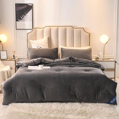 2019乳胶冬被床垫床笠床裙法兰绒毛毯水晶绒四件套磨毛四件套 150x200cm6斤 深灰