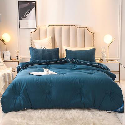 2019乳胶冬被床垫床笠床裙法兰绒毛毯水晶绒四件套磨毛四件套 200X230cm8斤 深蓝