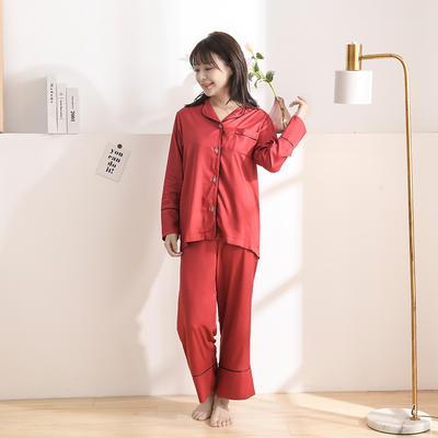 2020天丝60S睡衣裤女士款 均码(适合女士体重;90斤-130斤) 睡衣-酒红