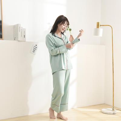 2020天丝60S睡衣裤女士款 均码(适合女士体重;90斤-130斤) 睡衣-浅绿