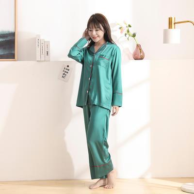 2020天丝60S睡衣裤女士款 均码(适合女士体重;90斤-130斤) 睡衣-深绿