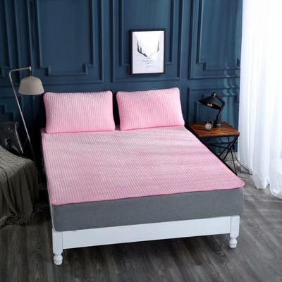 2020新款水洗乳胶防螨水晶绒床垫款三件套 1.2m床垫款两件套 乳胶床垫粉色