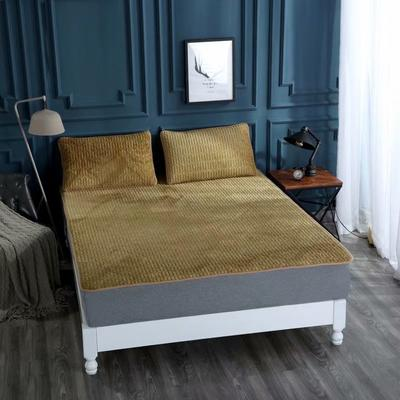 2020新款水洗乳胶防螨水晶绒床垫款三件套 1.2m床垫款两件套 乳胶床垫棕色