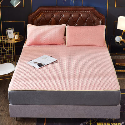 2020新款水洗乳胶防螨水晶绒床垫款三件套 1.2m床垫款两件套 乳胶防螨垫  粉玉