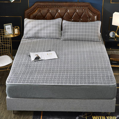 2020新款水洗乳胶防螨水晶绒床垫款三件套 0.9m床垫款两件套 乳胶防螨垫  格调灰