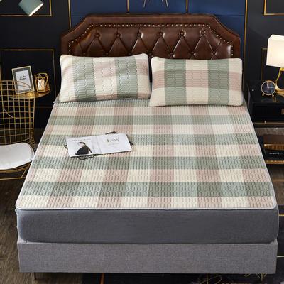 2020新款水洗乳胶防螨水晶绒床垫款三件套 0.9m床垫款两件套 乳胶防螨垫  格调绿