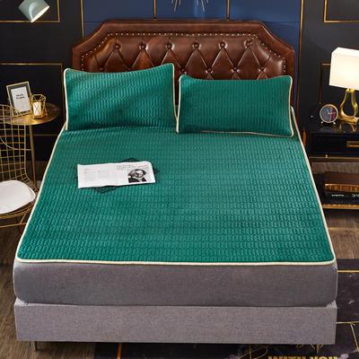 2020新款水洗乳胶防螨床垫款三件套 0.9m床垫款两件套 乳胶防螨垫  墨绿
