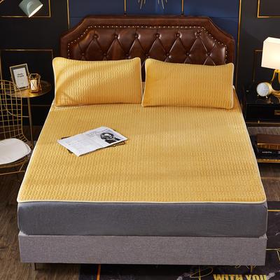 2020新款水洗乳胶防螨水晶绒床垫款三件套 1.2m床垫款两件套 乳胶防螨垫  柠檬黄