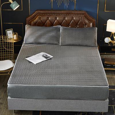 2020新款水洗乳胶防螨水晶绒床垫款三件套 1.2m床垫款两件套 乳胶防螨垫  深灰