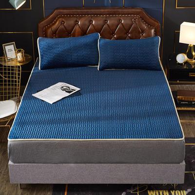 2020新款水洗乳胶防螨水晶绒床垫款三件套 1.2m床垫款两件套 乳胶防螨垫  深蓝