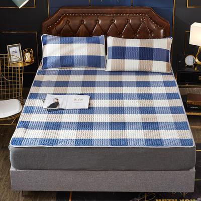 2020新款水洗乳胶防螨水晶绒床垫款三件套 0.9m床垫款两件套 乳胶防螨垫 格调蓝