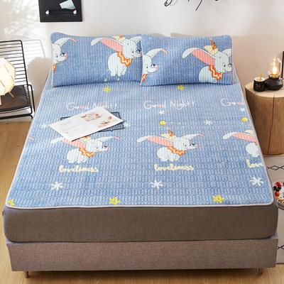 2020新款水洗乳胶防螨床垫款三件套 0.9m床垫款两件套 乳胶防螨垫  小象奇缘 蓝