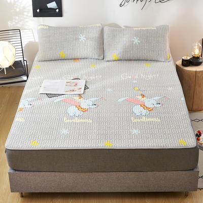 2020新款水洗乳胶防螨水晶绒床垫款三件套 0.9m床垫款两件套 乳胶防螨垫  小象奇缘 灰