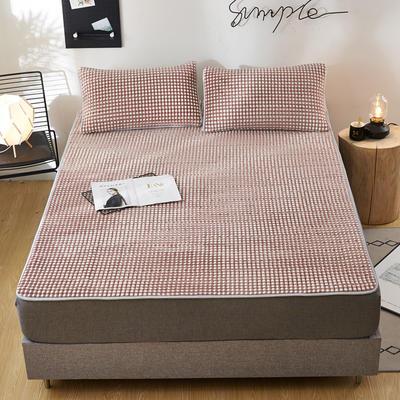 2020新款水洗乳胶防螨水晶绒床垫款三件套 1.2m床垫款两件套 乳胶防螨垫  休闲时光 咖色