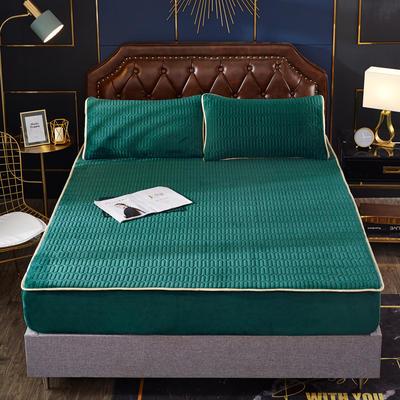 2020新款水洗乳胶防螨床笠款三件套 1.5m床笠款三件套 墨绿