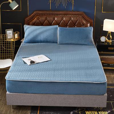2020新款水洗乳胶防螨床笠款三件套 1.5m床笠款三件套 浅蓝