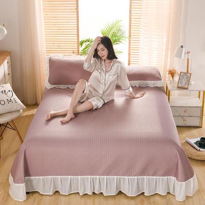 2021新款凉感丝乳胶凉席床盖款 245X250凉席床盖三件套 华夫格-豆沙