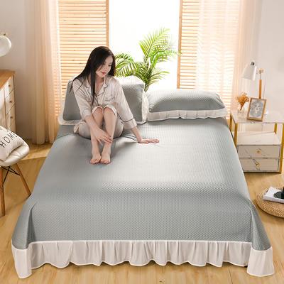 2021新款凉感丝乳胶凉席床盖款 245X250凉席床盖三件套 华夫格-胡绿