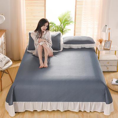 2021新款凉感丝乳胶凉席床盖款 245X250凉席床盖三件套 华夫格-墨兰