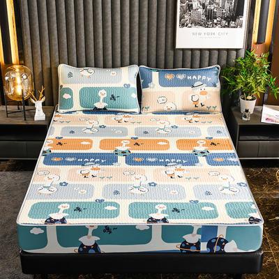 2021新款凉感丝床笠三件套 1.8X2.0m床笠款三件套 米粒鸭