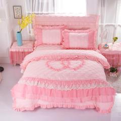 新款韩版床裙四件套夹棉被套磨毛蕾丝 1.2*2.0m床 玉色