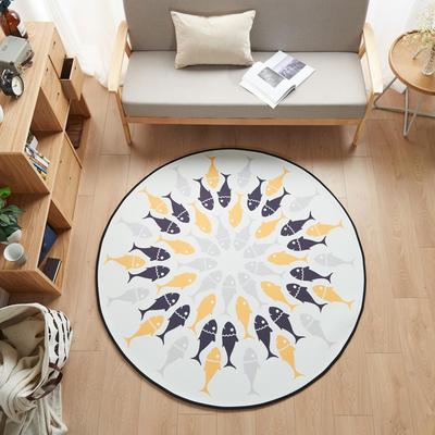 多规格宜家地垫几何简约现代北欧图案地毯客厅茶几卧室床边家用长方形可机洗 800MM×800MM 鱼趣