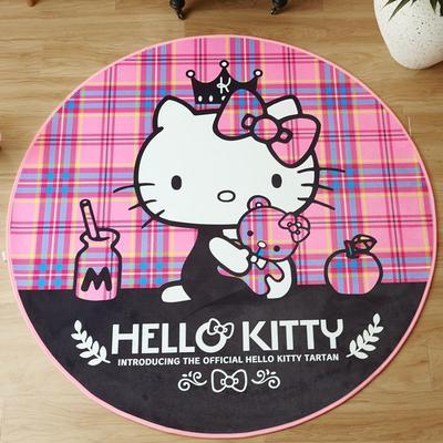 正版-HelloKitty 卡通地垫KT地垫 儿童房间客厅卧室 1500x1500MM 方格KT