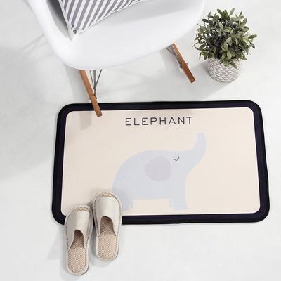 个性动物地垫丹麦风格地毯客厅茶几毯 卧室书房吊椅垫子长方形地垫电脑椅垫 500MM×800MM 大象