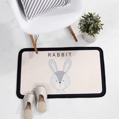 个性动物地垫丹麦风格地毯客厅茶几毯 卧室书房吊椅垫子长方形地垫电脑椅垫 500MM×800MM 兔子