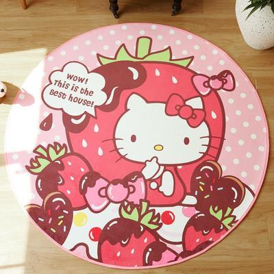 正版-HelloKitty 卡通地垫KT地垫 儿童房间客厅卧室 1500x1500MM 长发KT