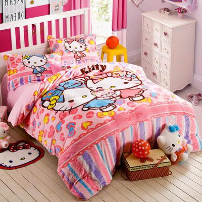 正版helloKitty法莱绒四件套   KT卡通四件套 1.2m(4英尺)床 闺蜜