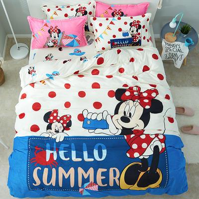 微来家纺 正版迪士尼法莱绒四件套 1.2m(4英尺)床 快乐假日