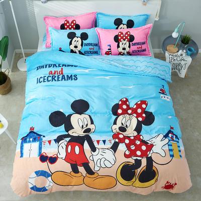 微来家纺 正版迪士尼法莱绒四件套 1.2m(4英尺)床 两小无猜