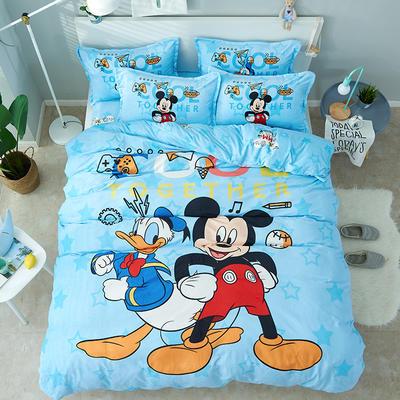 微来家纺 正版迪士尼法莱绒四件套 1.2m(4英尺)床 周游世界