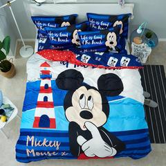 微来家纺 正版迪士尼法莱绒四件套1.5m床儿童床上用品加厚保暖卡通被套 1.2m(4英尺)床 航海家