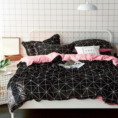 牛奶绒四件套造梦师系列法莱绒四件套 1.8m(6英尺)床 粉色三角