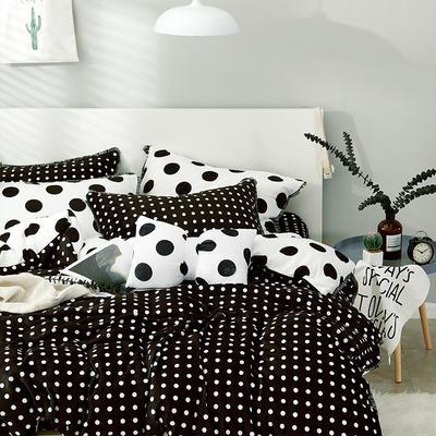 牛奶绒四件套造梦师系列法莱绒四件套 1.8m(6英尺)床 黑白波点