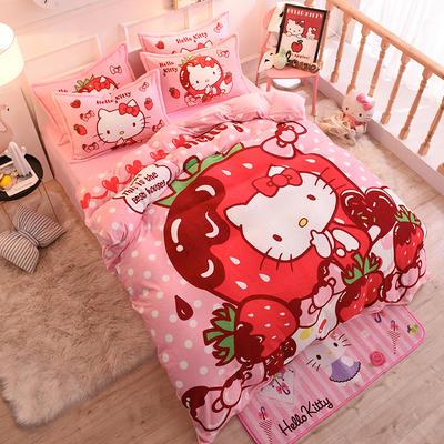 2019秋冬正版授权KT水晶绒套件 1.0m床单款三件套 甜心草莓