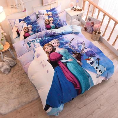 2019秋冬正版授权迪士尼水晶绒套件 1.35m床单款三件套 冰雪闺蜜