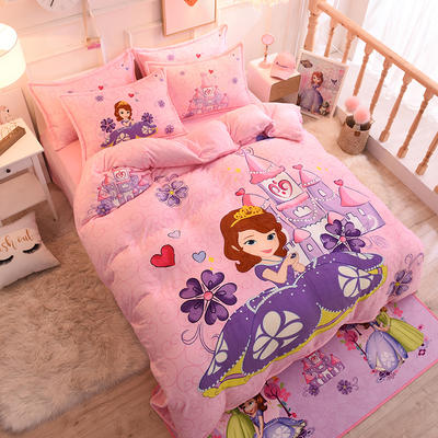 2019秋冬正版授权迪士尼水晶绒套件 1.0m床单款三件套 苏菲亚城堡