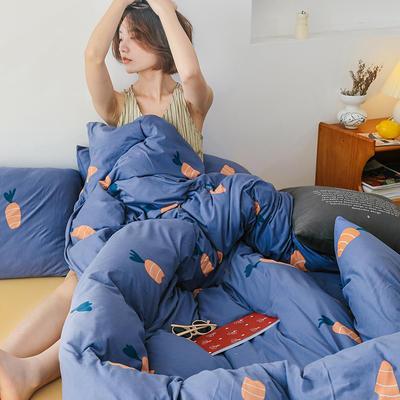 2020新款全棉针织棉印花四件套 1.5m床单款四件套 胡萝卜