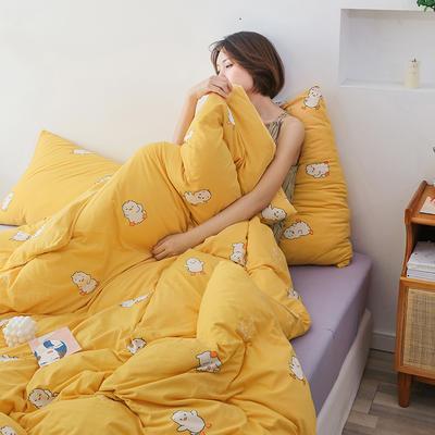 2020新款全棉针织棉印花四件套 1.5m床单款四件套 加油鸭(黄)