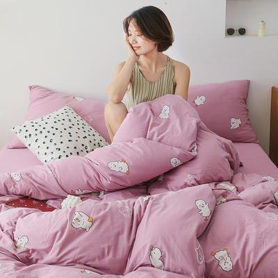 2020新款全棉针织棉印花四件套 1.5m床单款四件套 加油鸭(紫)