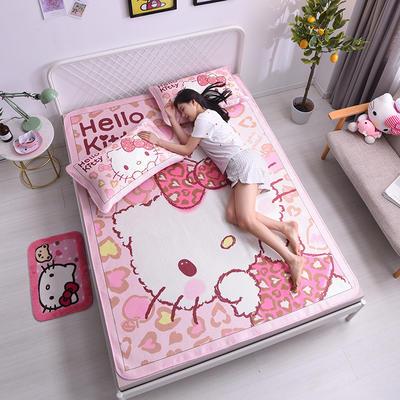 2021新款Hello Kitty提花冰丝凉席三件套 1.2m凉席两件套 呆萌