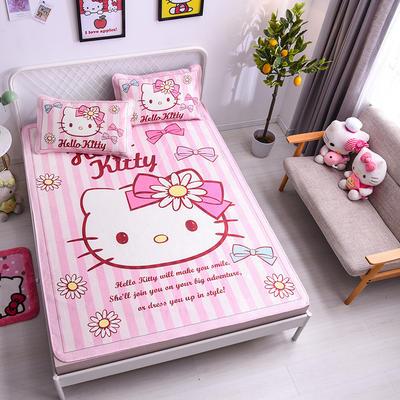 2021新款Hello Kitty提花冰丝凉席三件套 1.5m凉席三件套 太阳花KT