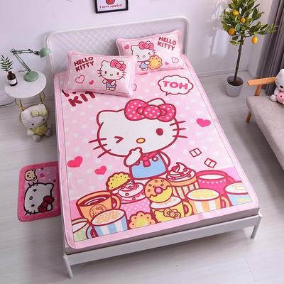 2021新款Hello Kitty提花冰丝凉席三件套 1.5m凉席三件套 甜甜圈